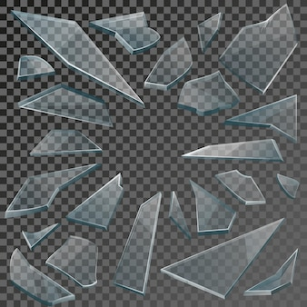 Éclats transparents réalistes de verre brisé sur fond quadrillé.