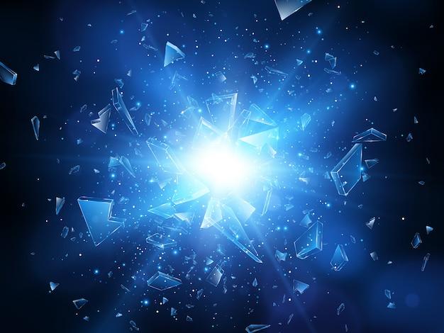 Éclats de verre brisé. explosion abstraite. illustration