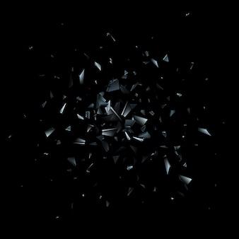 Éclats de verre brisé. explosion abstraite.