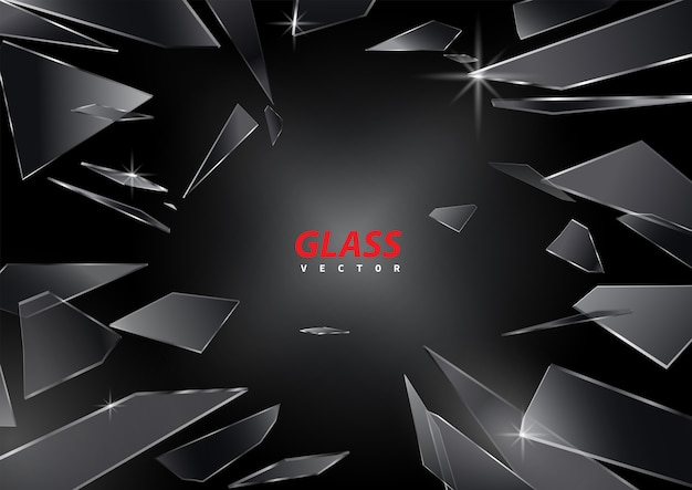Éclats de verre brisé sur fond noir