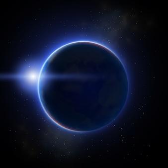 Eclipse de lune étincelante sur une illustration plate sombre