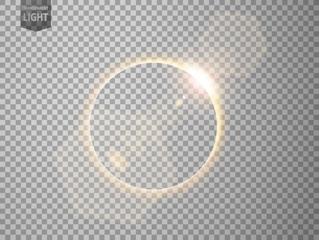 Éclipse d'or avec lumière parasite