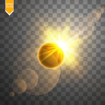 Éclipse solaire totale sur fond transparent