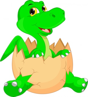Éclosion de dessin animé mignon de dinosaure