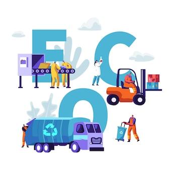 Eco, concept de recyclage des déchets. illustration plate de dessin animé