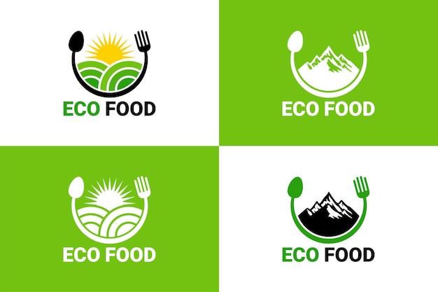 Eco food, champ, montagne, soleil, cuillère et fourchette logo template vecteur premium