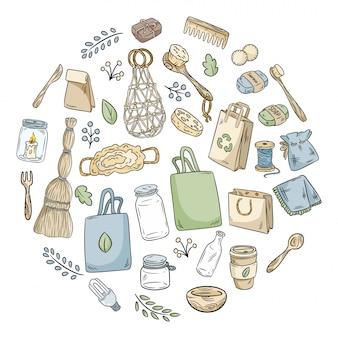 Eco friendly icon set dans un cercle
