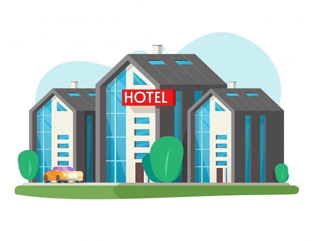 Eco hôtel vecteur grand bâtiment isolé et grand motel en illustration de dessin animé plat ville ville