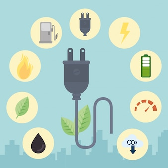 Eco plug wth icon set vector design