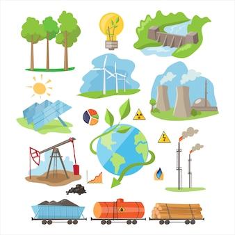 Éco-ressources énergétiques. ensemble d'illustration
