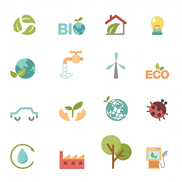 Eco set d'icônes vectorielles