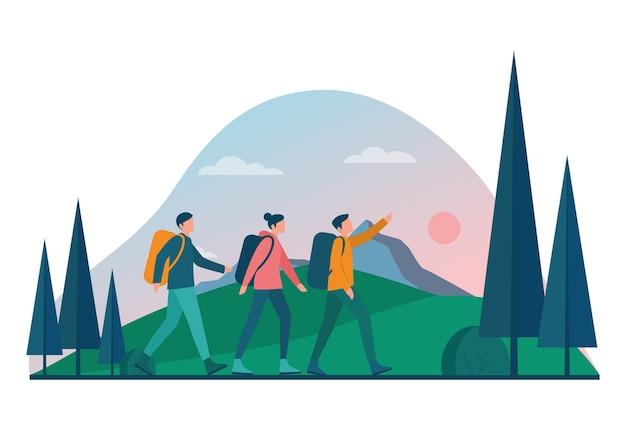Eco tourisme et concept de voyage écologique. tourisme écologique dans la nature sauvage, randonnée et canoë. touriste avec sac à dos et tente. illustration vectorielle.