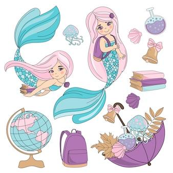 École automne mer sous-marine vector illustration set élève mermaid