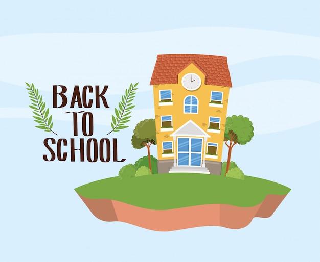 École, bâtiment, herbe