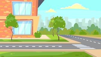 École, bâtiment, illustration, route