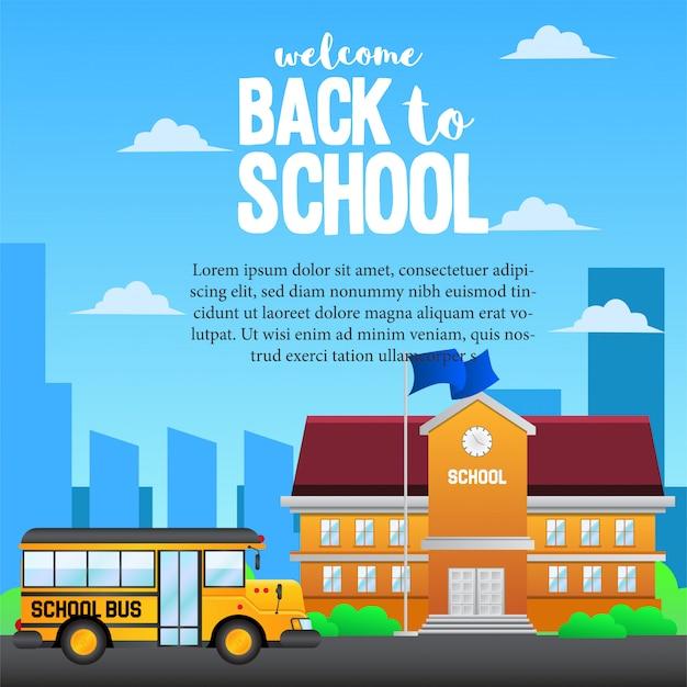 École de bus jaune retour à l'école