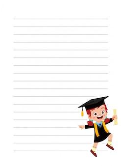 École de cahier heureux mignon petit enfant