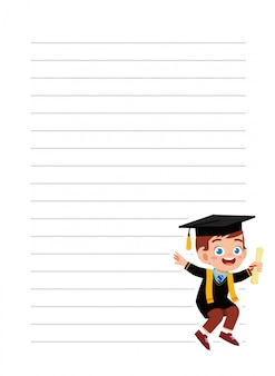 École de cahier heureux petit garçon mignon