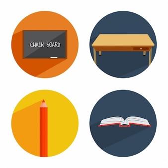 Ecole de classe icône banner set