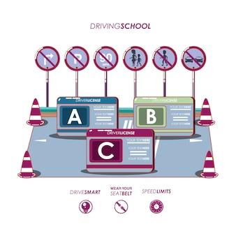 École de conduite set icônes vector illustration design