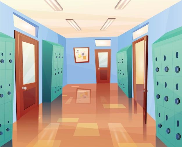 École, couloir du collège avec portes ouvertes et fermées, casiers de rangement, tableau d'affichage. dessin animé pour jeu d'enfants ou web.