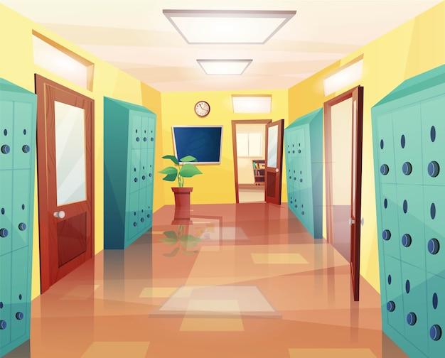 École, couloir du collège avec portes ouvertes et fermées, horloge au mur, casiers de rangement, tableau d'affichage. dessin animé pour jeu d'enfants ou web.