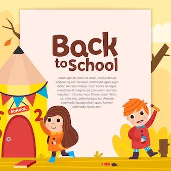 École de crayons avec des enfants en arrière-plan