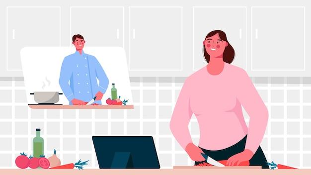 École culinaire en ligne. le chef enseigne la cuisine. didacticiel vidéo. enseignement en ligne, apprentissage à distance.