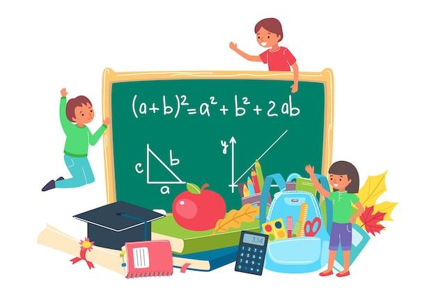 École d'éducation avec illustration de tableau noir