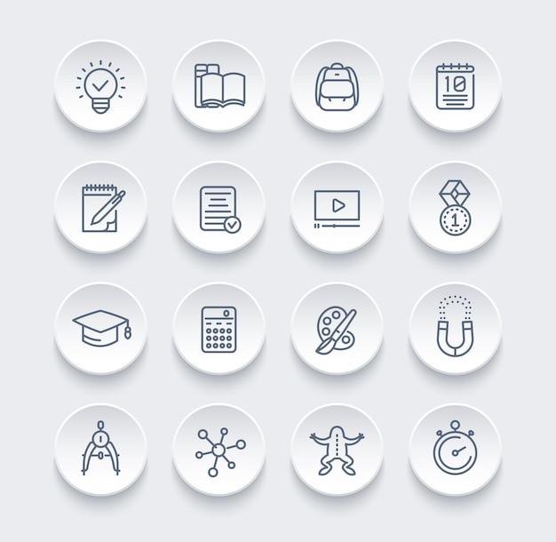 École, éducation, jeu d'icônes de ligne d'apprentissage