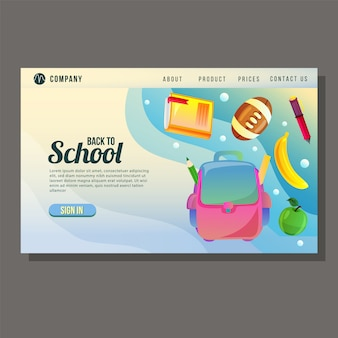 École éducation page d'atterrissage éducation objets école