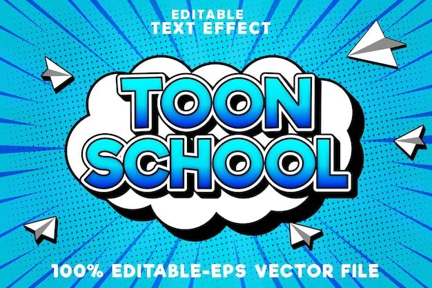 École d'effet de texte modifiable avec nouveau style bande dessinée de retour à l'école