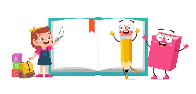 École enfant mignon heureux avec livre et crayon