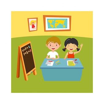 École enfants éducation école primaire apprentissage et vecteur de concept de gens.