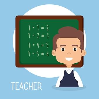 École d'enseignant avec personnage avatar tableau