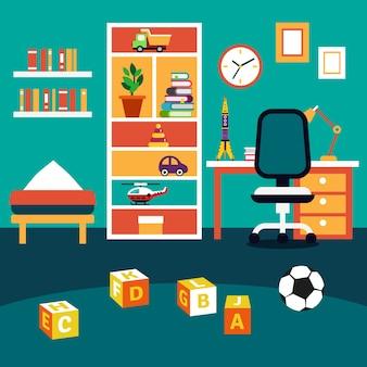 Ecole, étudiant, garçon, chambre à enfant, intérieur