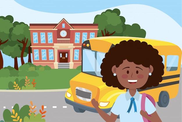 École fille et bus