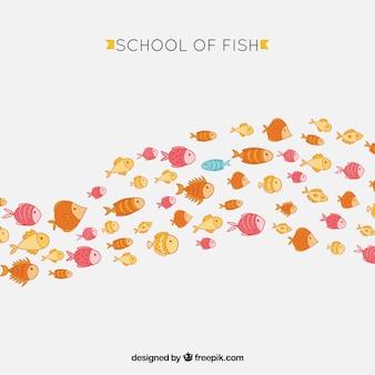 École de fond de poissons colorés dans un style dessiné à la main
