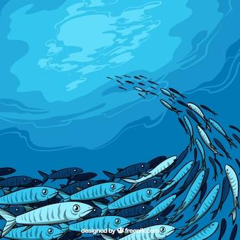 École de fond de poissons dans un style dessiné à la main