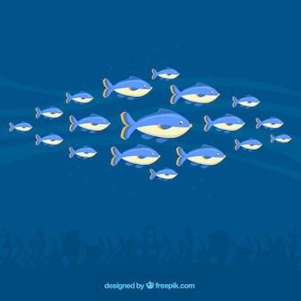 École de fond de poissons avec la mer profonde dans le style plat