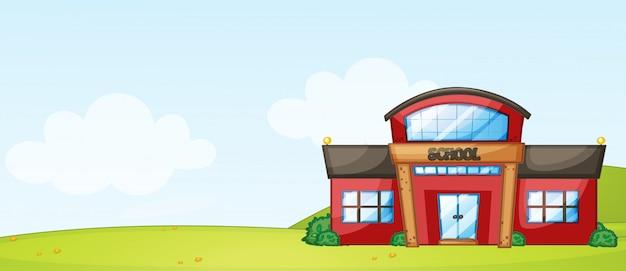 École isolée, bâtiment, nature