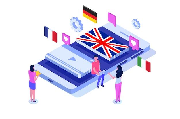 École de langues, apprentissage en ligne. traducteur isométrique.