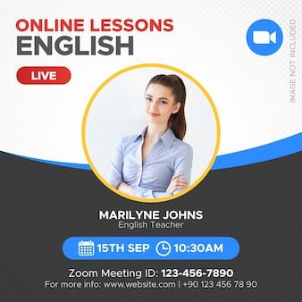 École en ligne et bannière de cours vidéo en direct pour zoom instagram post web et médias sociaux
