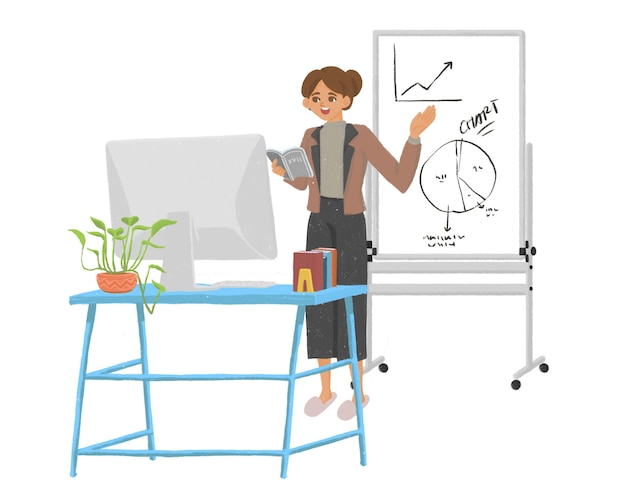 École en ligne enseignante nouvelle illustration normale