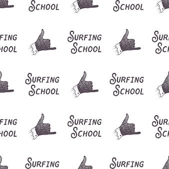 École modèle de surf style ancien. fond d'écran sans couture de l'été avec signe de surfeur - shaka