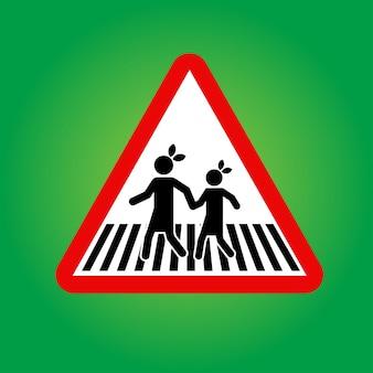 École ou piéton avec panneau de signalisation routière pour enfant avec poteau métallique