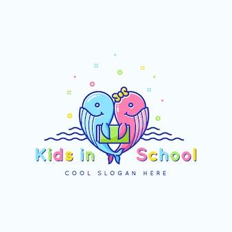 École pour enfants, emblème ou modèle de logo. joyeuses baleines drôles avec illustration de livre. isolé