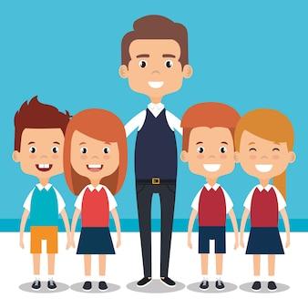 École de professeur avec personnage d'avatar enfants