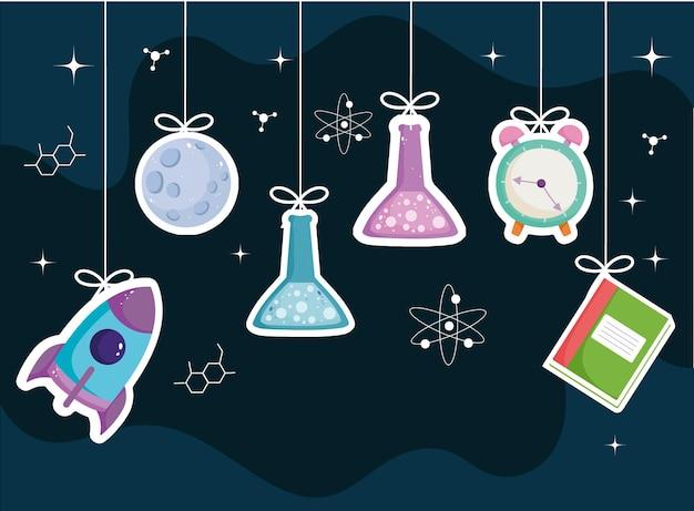 École suspendue livre tube à essai horloge science fond illustration