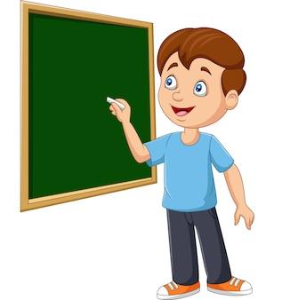 Écolier dessin animé écrit sur le tableau